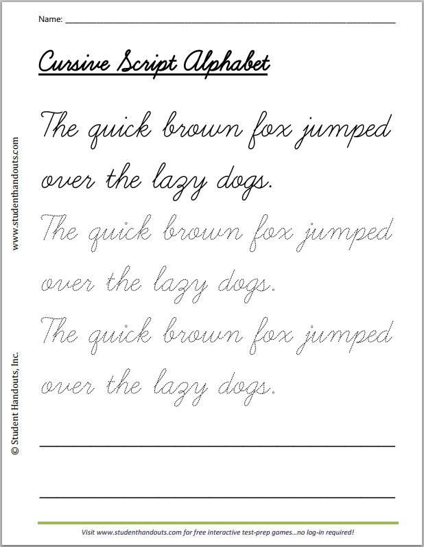 The quick brown fox jumped over the lazy dogs cursivescript handwriting practice worksheet for kids.