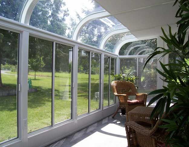 Curved Glass Roof Sunroom Or Patio Room With Aluminum Frame Hot Tub Pergola Backyard Pergola Lanai Patio
