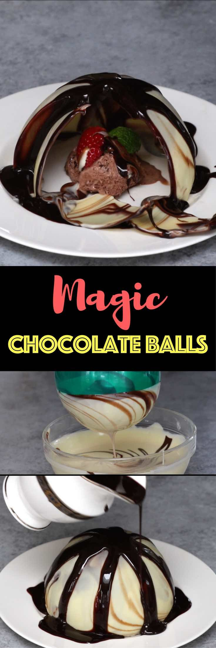 Magic Chocolate Balls – An easy and beautiful magic recipe that looks like flowers blooming. When the hot chocolate poured over the swirl chocolate shells, they melt and collapse revealing the dessert inside. Special trick using balloons make it really easy to shape the chocolate into balls. So cool! Quick and easy recipe, no bake dessert, mother's day recipe, holiday party video recipe. | Tipbuzz.com