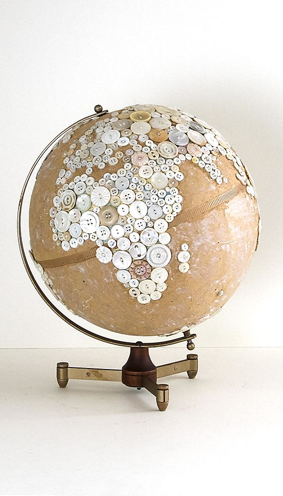 """Robin Ayres – 12"""" button globe. This was my first button globe. All the buttons are sewn on."""