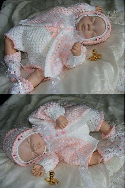 Downloadable Baby Doll Knitting Patterns : Tender Touch baby or reborn doll outfit to knit. Downloadable pattern. Knit...