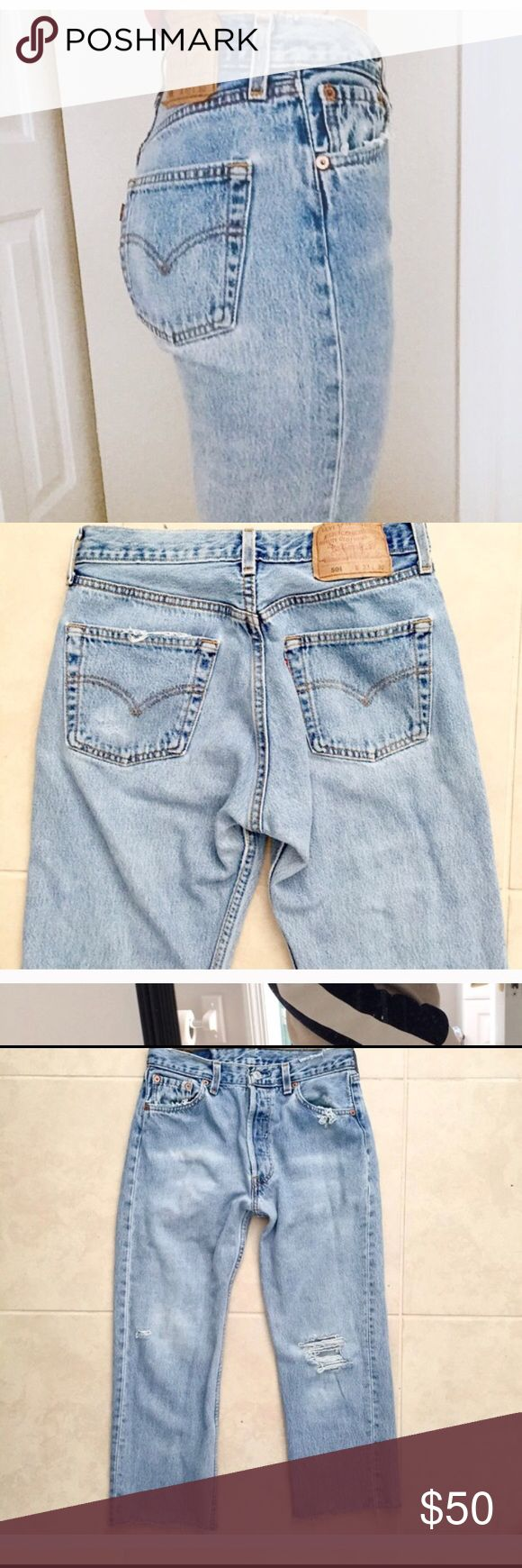 Trendy Vintage Levi's 501 jeans *SALE* Please measure yourself accordingly. Vintage Levi's fit differently.   Tag reads W33 L30  ACTUAL MEASUREMENTS: - waist 14 in. Flat across  - 10 in. Rise  - 23 in. inseam -(approx) 17in. Across the hips Levi's Jeans Ankle & Cropped