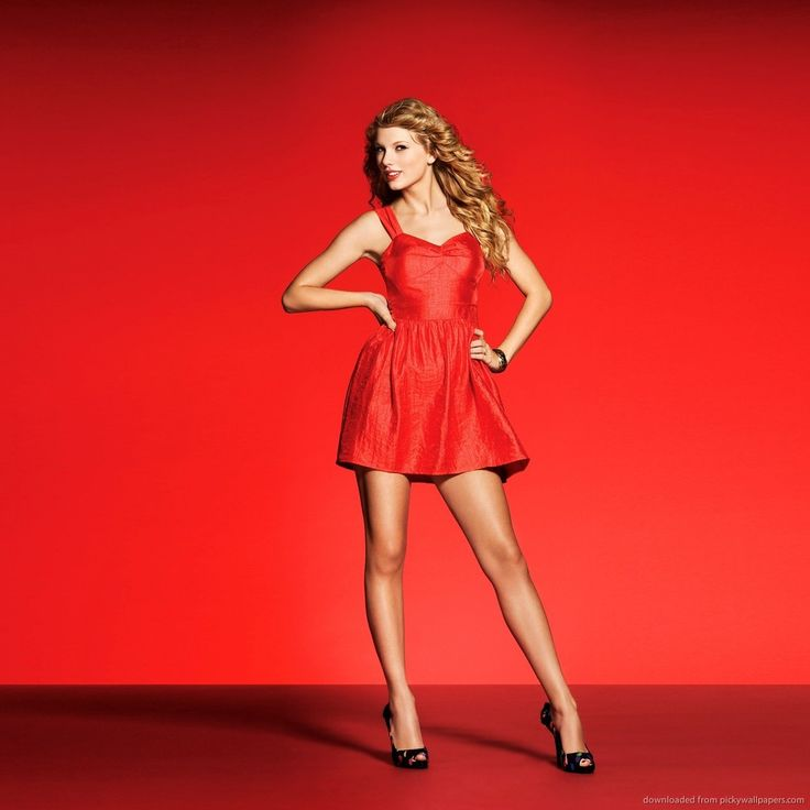 Taylor Swift Red Dress | Download Taylor Swift In Short Red Dress Wallpaper For iPad