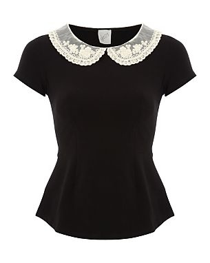 G21 Crochet Collar Peplum Top ... This top is sold at Asda! I wish I was in England right now! OMG!