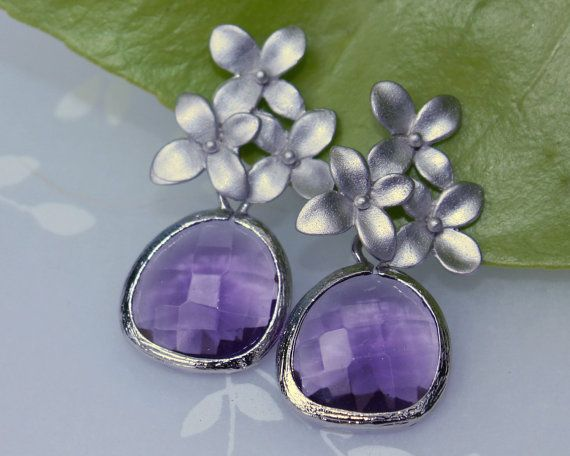 Cherry Blossom Flower Post Earrings In Silver With Framed Amethyst Purple Crystal Drop Weddings Bridal On Etsy