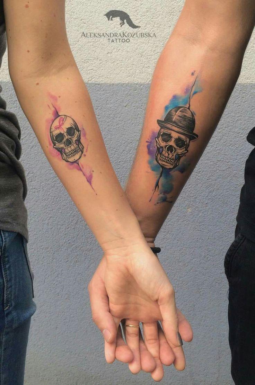 #Watercolor #tattoo #arm #skull #couples #ink #odswitudozmierzchu