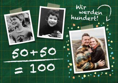 Tolle Einladungskarte in Schultafel-Look mit Kinderfotos zum zusammen Geburtstag feiern: Wir werden 100!