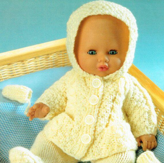 PDF Baby & Doll Clothes Knitting Pattern Pram Set Aran Cable Matinee Pixie Hood Pull Ups Leggings Vintage  Modern Doll Tiny Tears Reborn