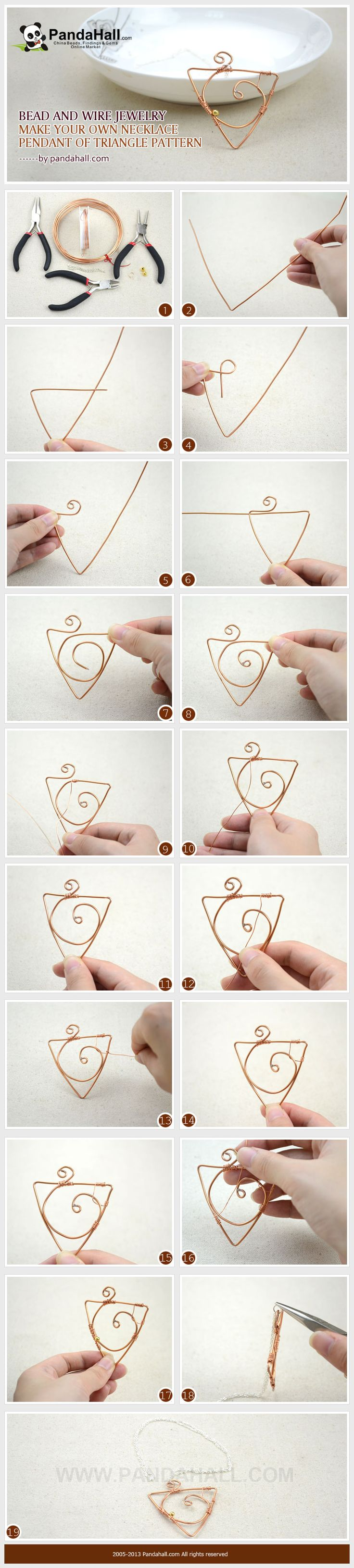 Bead and Wire Jewelry-Make Your Own Necklace Pendant in a Triangle Pattern