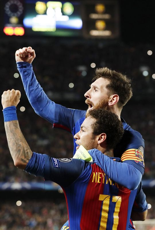 """xavihernandes: """"Neymar of FC Barcelona, Lionel Messi of FC Barcelona during the UEFA Champions League round of 16 match between FC Barcelona and Paris Saint Germain on March 08, 2017 at the Camp Nou..."""