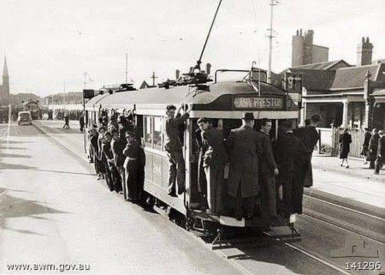 An overcrowded East Preston tram in Brunswick Street, Fitzroy North, in 1944.