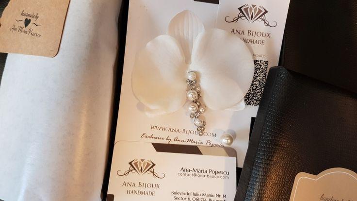 Cercel Orhidee ALB BRIDE #ANAB383 - Cercel Orhidee ALB cu perle din sticla, tije si fluture (capacel) Argint 925. Cercel mic cu perla din sticla si fluture (capacel) Argint 925.   - Bijuterii Handmade - Ana Bijoux Handmade | Ana-Bijoux.com | Ana Bijoux Group