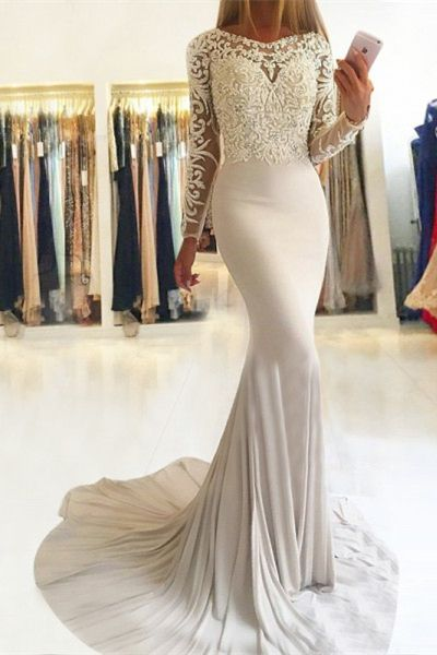 202c977d341c elegant light champagne mermaid prom dresses with sleeves, unique long sleeves  evening gowns with lace, modest party dresses with beading