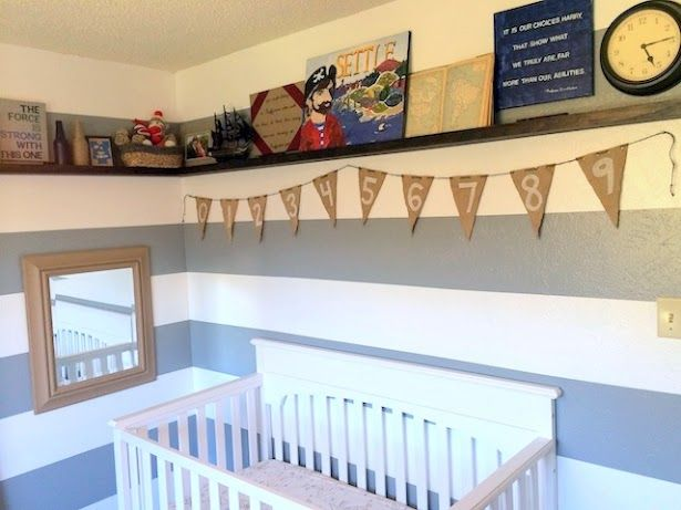 Pirate Nursery, I love that this nursery theme is not so generic. boy nursery, pirate nursery theme, gray and white nursery