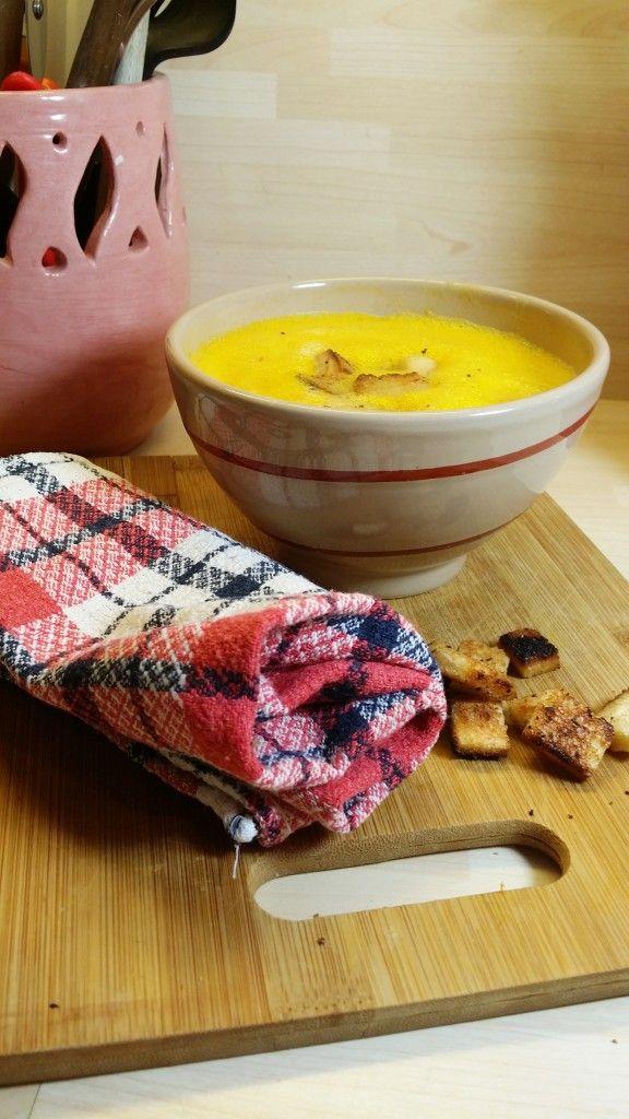 Soupe au potiron et croutons