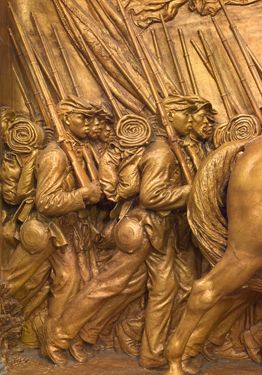 Image: Augustus Saint-Gaudens Shaw Memorial, 1900 Colonel Robert Gould Shaw and the 54th Massachusetts Volunteer Infantry, one of the first regiments of African American soldiers during Civil War. Boston Ma. across from State Capitol Building.