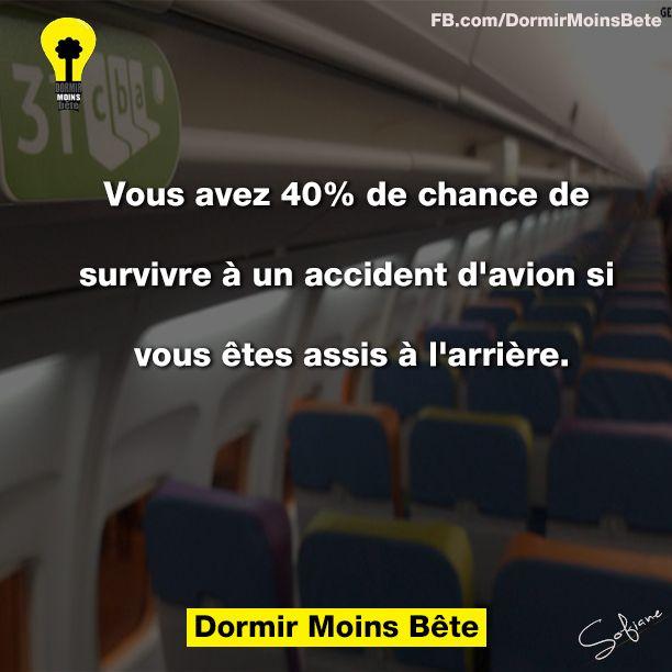 Vous avez 40% de chances de survivre à un accident d'avion si vous êtes assis à l'arrière.