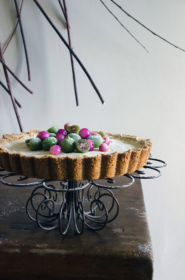 White chocolate tart with wattleseed, riberries + kiwi berries (He Needs Food)