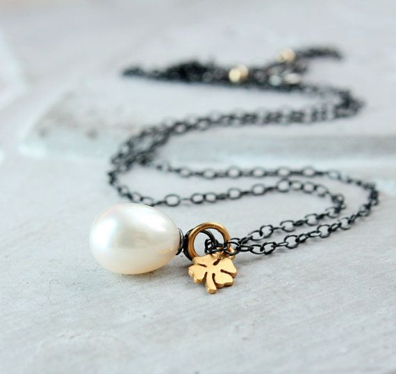 White Pearl Necklace  Mixed Metal  Jewelry June Birthstone  Shamrock Charm Pendant Oxidized Silver  Birthday Gift