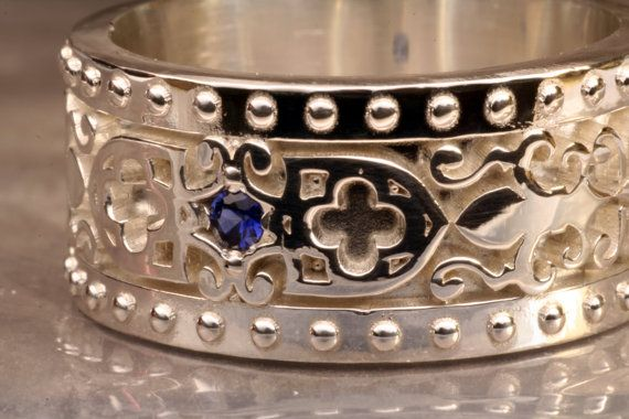 Sterling+Silver+Wedding+Band+with+Sapphire+by+AddingtonKarpathia,+$99.00
