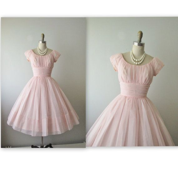 50's Chiffon Dress // Vintage 1950's Ruched Pink Chiffon Wedding Party Prom Dress Tea Gown XS on Etsy, $164.00