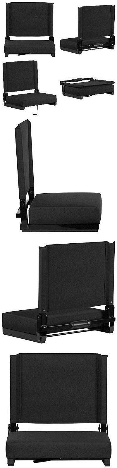 Other Outdoor Sports 159048: Bleacher Seats With Backs Black Stadium Chair Cushion Comfy Portable New Games -> BUY IT NOW ONLY: $49.49 on eBay!