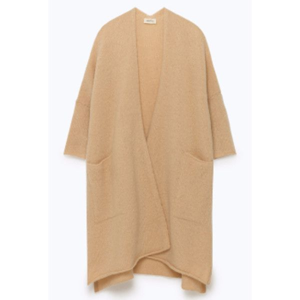 Camel Cardigan (10.075 RUB) ❤ liked on Polyvore featuring tops, cardigans, camel cardigans, cardigan top, oversized cardigan, beige top and camel top
