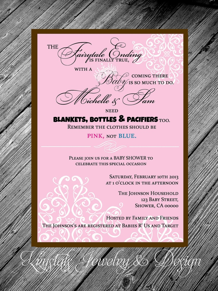 Exceptional Fairytale Poem Damask Princess Theme Pink U0026 Brown Baby Shower Girl  Invitation With Envelope   4