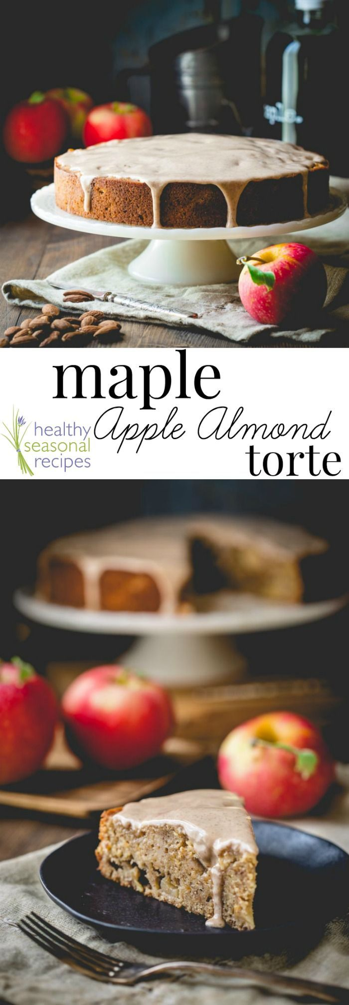 There is a whole world out there of autumnal baking goodness beyond pumpkin. Like this Maple Apple Almond Cake. It's so moist and delicious. And the cinnamon glaze takes it over the top. It's basically Fall in a dessert! Healthy Seasonal Recipes