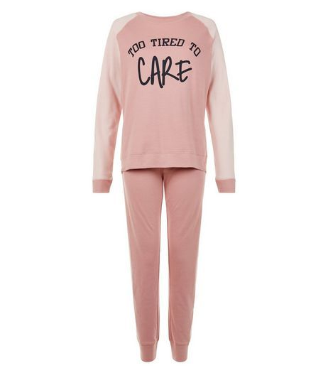 Teens Mid Pink Tired Slogan Pyjama Set | New Look