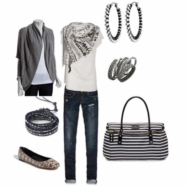 Grey&Black.: Dreams Closet, Black Outfits, Style, White Scarves, Flats Shoes, Black White, Casual Outfits, Bags, Grey Dresses