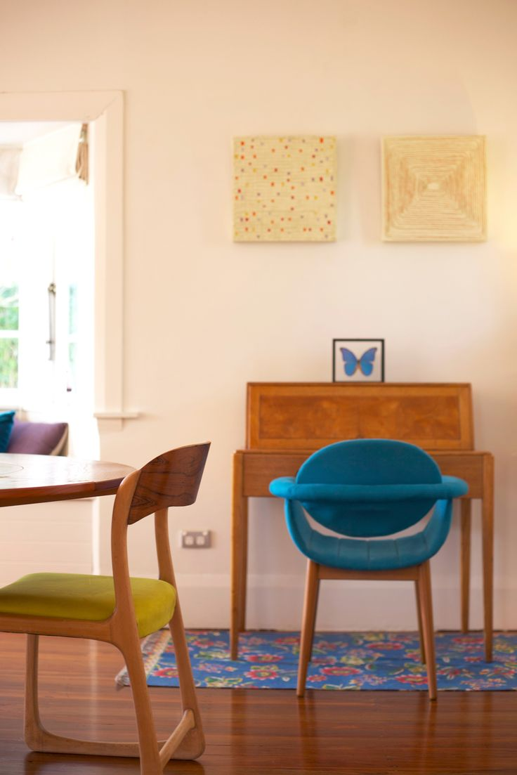 #Blue chair. #writing desk #study nook. Staging by Places and Graces.