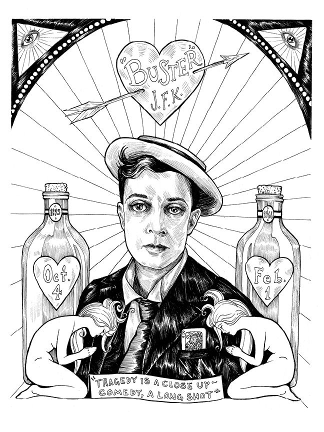 Buster Keaton, from Illuminating the Stars Volume 1 by Alicia Justus. Currently funding on Kickstarter: http://kck.st/1wD7LNa