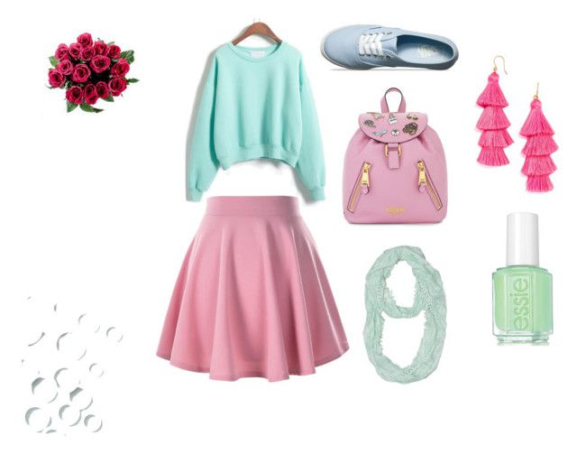 """""""розово-голубой"""" by missis-akvamarine ❤ liked on Polyvore featuring WithChic, Vans, Moschino, J.Crew and Essie"""