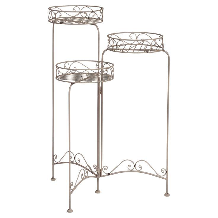 Metalen bloempotstandaard met romantische krullen. Kleur: grijs. 76 cm hoog. #KwantumLente #tuin