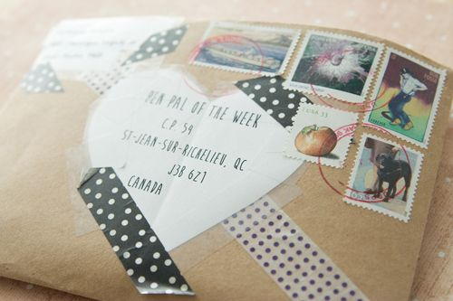 mailart and washi tape with lovely stamps