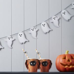 Spooky Ghost Halloween Garland Bunting Decoration - Turn your happy home into a haunted mansion or spooky space with the help of our Halloween decorations. We can help you create a killer kitchen, doomed dining room and frightening foyer. Fill your home with orange and black decorations and really embrace the spookiest night of the year.