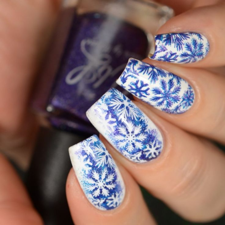 Best 25 crazy acrylic nails ideas on pinterest crazy nails holiday nail art designs of 2017 colors by llarowe purple blue snowflakes stamping nail art design prinsesfo Images