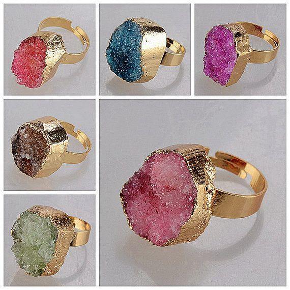 Сырье Magenta Drusy кристаллическое кольцо Druzy Розовый от MyDreamySupplies