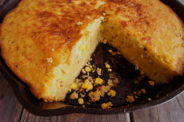 Skillet Jalapeño Cornbread (minus the bacon to make it vegetarian)