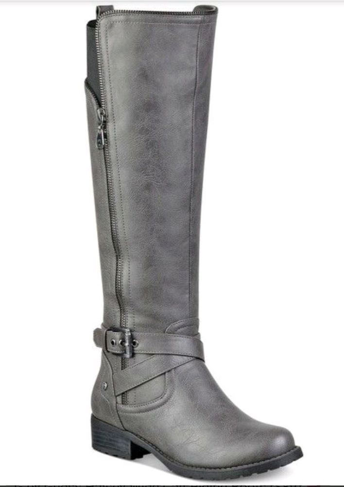 G By Guess Womens Dark Gray Halsey Tall Riding Boot Shoes Msrp 89