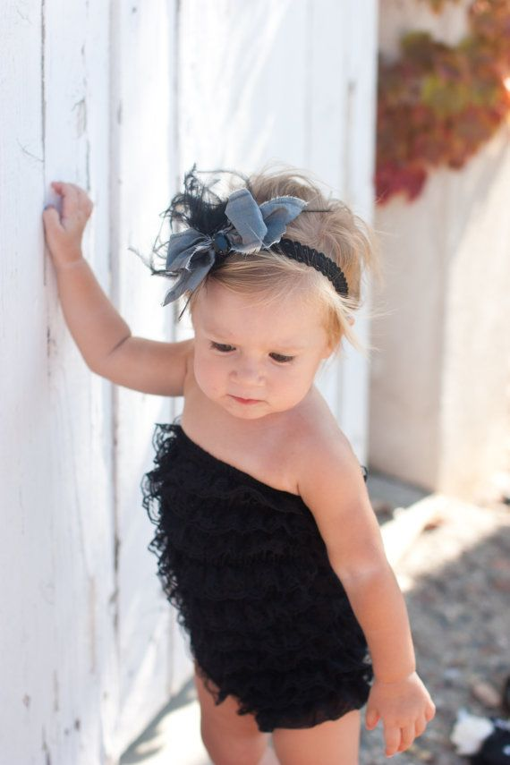 love the romper and the headband!!!: Cutest Baby, Black Lace, Little Girls, Lace Ruffles, Ruffles Rompers, Baby Girls, Kids, Baby Outfit, Baby Rompers