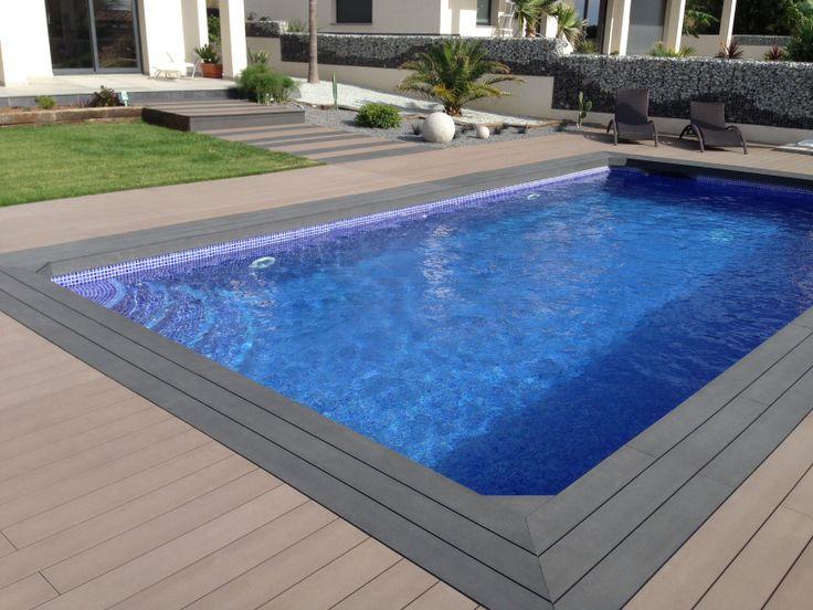 Tarima exterior composite alrededor de piscina se han for Piscina composite