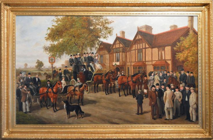 The George in the Tree with the Tally Ho London to Birmingham Stage Coach | From a unique collection of figurative paintings at https://www.1stdibs.com/art/paintings/figurative-paintings/