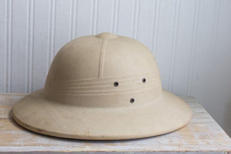 Vintage Safari Hat - Hard Military Style - Khaki Pith Helmet