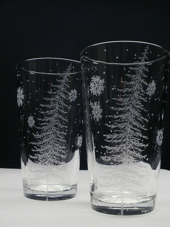 2 Pint Glasses . 'Fir Tree With Floating Flakes' . Hand Engraved . Home Decor . Holiday Entertaining . Winter Wedding Party on Etsy, $48.00