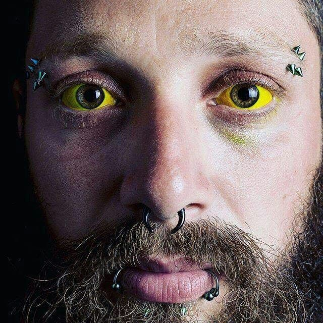 Tattooed eyeballs yellow pinterest tattoo eyeball for Jobs that allow piercings tattoos and colored hair