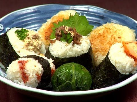 7 types of Onigiri おにぎり (cooking with dog)