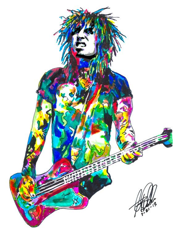Nikki Sixx Motley Crue Bass Guitar Player Hard Rock by thesent