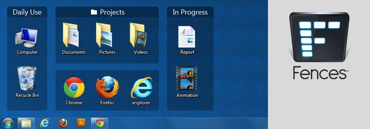 Automatically organize your desktop shortcuts and icons with Fences!
